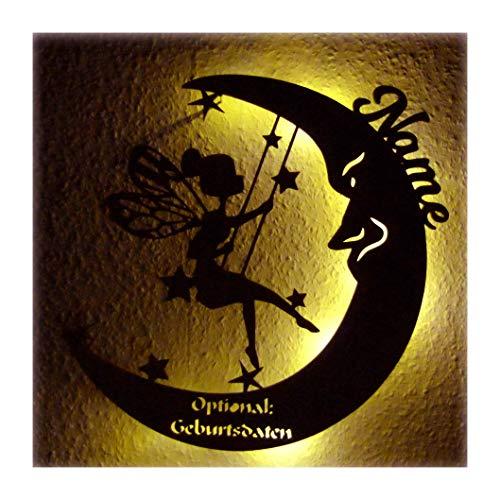 """Schlummerlicht Leuchtsterne Nachtlicht Led Lampe personalisiert\""""Schaukel Fee auf Mond\"""" Geschenke zur Geburt Feen Geschenk mit Name Geburtsdaten persönlich Mädchen"""