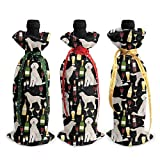 KDU Fashion Red Wine Bottle Cover,Cubierta De Encargo De La Botella De Vino De La Navidad del Doodle Lite, Bolsas Duraderas Reutilizables del Vino Tinto para La Decoración Casera,3pcs/Set