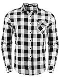 Sykooria Camisas a Cuadros de Franela para Hombre, Blusa de
