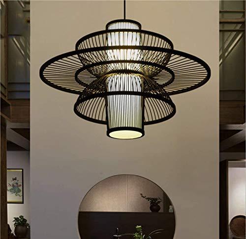 Cwypxl Natural bambú ratán Colgante luz sudeste asiático Linterna araña DIY Mimbre ratán lámpara Lámpara E27 Altura Ajustable Aisle Bar Comedor Lámpara de Techo,Negro,60cm