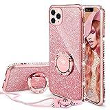 OCYCLONE Funda para iPhone 11 Pro, Glitter Cristal Diamante Brillante y Soporte de Anillo para Niñas y Mujeres, Funda para Teléfono con Purpurina para iPhone 11 Pro de 5.8 Pulgadas - Oro Rosa