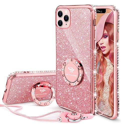 """OCYCLONE Funda iPhone 11 Pro 5.8"""", Glitter Dimante Ultra Delgada TPU Carcasa con Anillo Kickstand de 360 y Cordon, Brillante Cover Protectora para iPhone 11 Pro - Oro Rosa"""