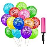 ZHENA 50 Stk Luftballons Geburtstag Happy Birthday Bunt Latex Ballons 12 Zoll mit Ballonpumpe für...