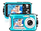 Waterproof Camera 10 FT 2.7K Full HD 48MP Underwater Camera 16X Digital Zoom Waterproof Digital Camera Self-Timer Dual Screens Anti Shake for Snorkeling, Travel and Vacation