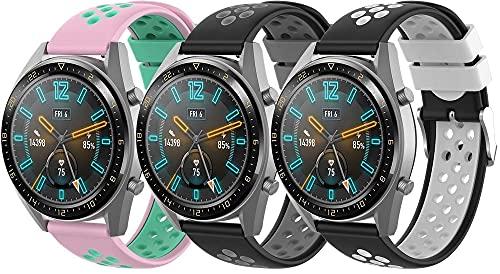 Chainfo Correa de Reloj Recambios Correa Relojes Caucho Compatible con Polar Vantage M - Silicona Correa Reloj con Hebilla (22mm, 3-Pack G)