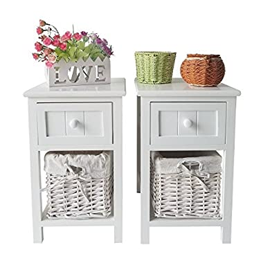 SUNCOO Retro White Wood Shabby Chic Nightstand End Side Bedside Small Table w/Wicker Storage Set of 2 with drawer and basket