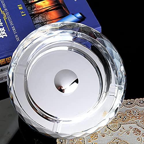 Efecto de corte de vidrio cigarrillo cenicero de vidrio transparente cenicero redondo vidrio de cigarro interior al aire libre escritorio de oficina en casa pub jardín 150 mm diámetro exterior plata