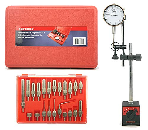NORTOOLS Professional Dial Indicator, Test Indicator, Magnetic Base and Point Set(Indicator Points Set 22-Piece)