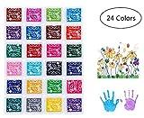 Yongbest Coussins Encreurs,24 Couleurs Tampon Encreur Encre Empreinte Digitale pour Tissu de Métier de...