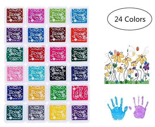 Stempelkissen,24 Farben Stempelkissen Fingerabdruck Set Papier Handwerk Stoff für Papier Handwerk Stoff,Leinwand Hochzeit,Gummi Kunst Stempel Karte machen