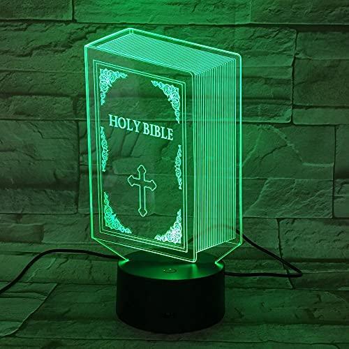 Lámpara de ilusión 3D 3D, lámpara de noche de Jesús bendecido, Virgen María Christian Bible Crucifix 3D LED iluminación de mesita de noche, iluminación para rezar, regalos para niños