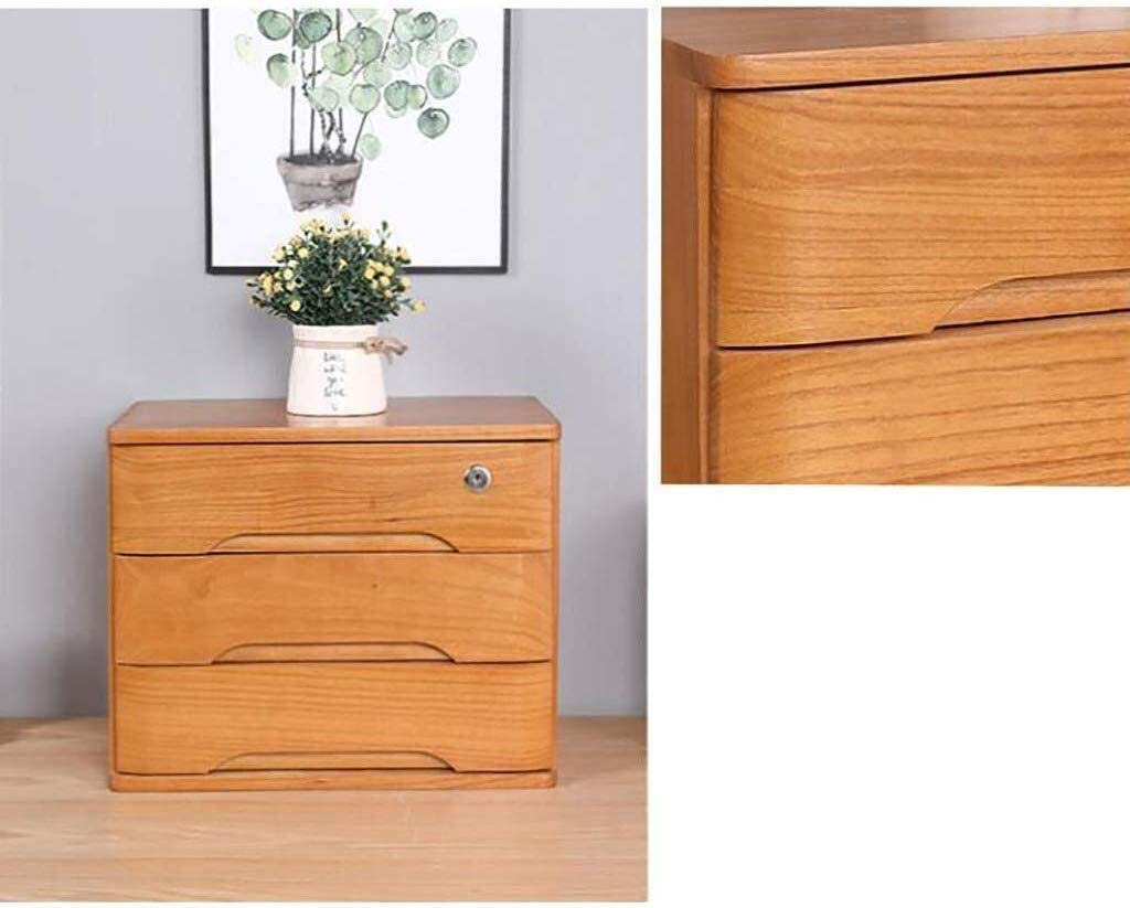 Color : Beige Filing Cabinets Letter Tray Data File Cabinet Office Desktop Storage Box Shelf Data Frame Solid Wood with Lock 2 Layer Storage Box Small Chest of Drawers Put A4 Paper
