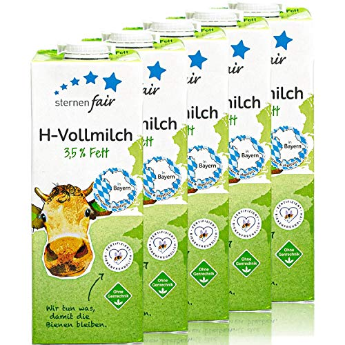 sternenfair - 5er Pack H-Vollmilch 3,5 % in 1 Liter Packung - Haltbare Milch aus Bayern - Artgerechte Tierhaltung, ohne Gentechnik und Bienenfreundliche Flächenbewirtschaftung