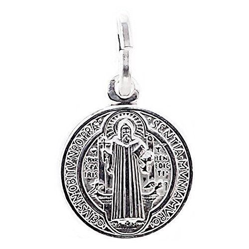 Medalla Plata Ley 925M.San Benito 12mm. Doble Cara
