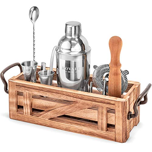11 Piece Mixology Bartender Kit with Rustic Stand - Bar Set Cocktail Shaker Set with Cocktail Kit Cards - Premium...