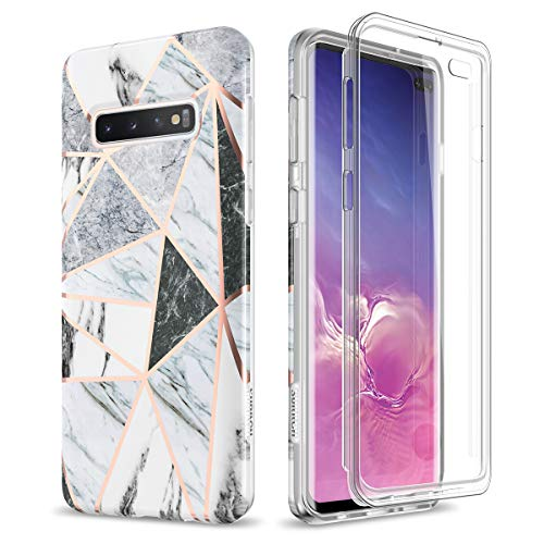 SURITCH Case for Galaxy S10 Plus [Built-in Screen Protector] Cute Geometric Marble Full-Body Shockproof Rugged Cover for Samsung Galaxy S10 Plus [Compatible with Fingerprint Sensor] (Gray Marble)