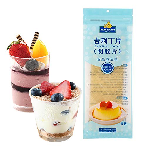 Gelatine Sheets (10 Sheets),Unflavored Gelatin for Baking,Used to Mousse Cake Pudding Jelly Jello Gummy Pastry Dessert, Gelatine Leaves (10 sheets)