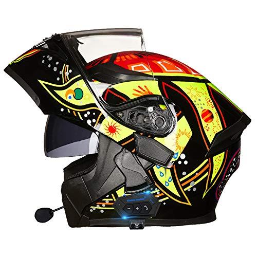 STRTG Cascos Casco Bluetooth Integrado para Motocicleta ECE Aprobado por el Dot Casco abatible de Cara Completa para Motocicleta Casco de Motocicleta con Lente Doble antivaho B,XXL : 63 cm-64 cm