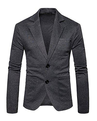 Runyue Herren Beiläufiger Sakko Blazer Jacke Zwei Tasten Freizeit Anzug Jacken Reine Farbe Jackett Anzugjacken Dunkelgrau L