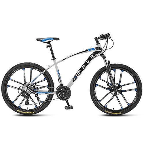 AP.DISHU Niño Bicicleta De Montaña 21 Velocidades Todo Terreno Rueda De 24 Pulgadas Doble Disco De Freno Horquilla De Suspensión Bicicletas Antideslizantes,Azul
