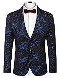 COOFANDY Mens Floral Tuxedo Jacket Slim Fit Luxury Blazer Wedding Party Prom Dinner Suit Jacket Blue