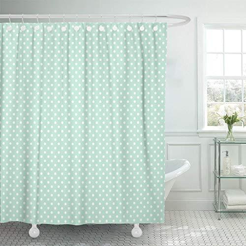 shenguang Duschvorhang Blau Weiß für Light Mint Polka Dots Muster Grün Wasserdichtes Polyestergewebe 60 x 72 Zoll Set mit Haken