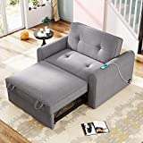 Merax Sofa with Pull-Out Bed Convertible Sleeper Sofa Bed Loveseat Couch Functional Adjustable Single Bed Chair with USB Port for Small Space