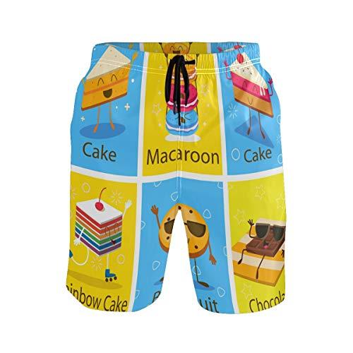 BONIPE Zwembroek voor heren Schattig Cartoon Cake Regenboog Maracoon Biscuit Chocolade Quick Dry Board Shorts met trekkoord en zakken