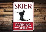 Lilyanaen New Metal Sign Aluminum Sign Skier Parking Sign Ski Sign Gift Skier Snow Bunny Gift Ski Lover Gift Ski Lodge Decor Ski Sign for Outdoor & Indoor 12' x 8'