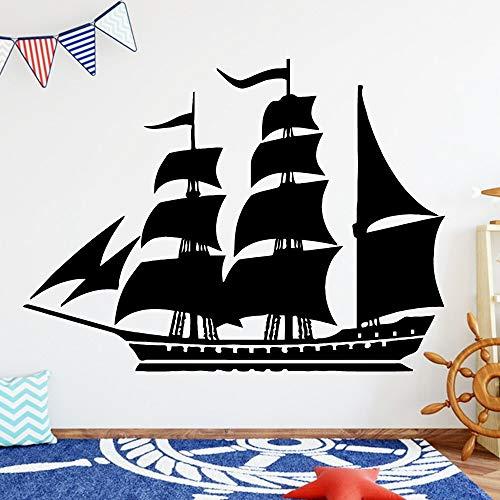 Quszpm 3D Sailing Boat Wall Sticker Self Adhesive Decoration Living Room Bedroom Decoration Wall Decal 43cm X 58cm