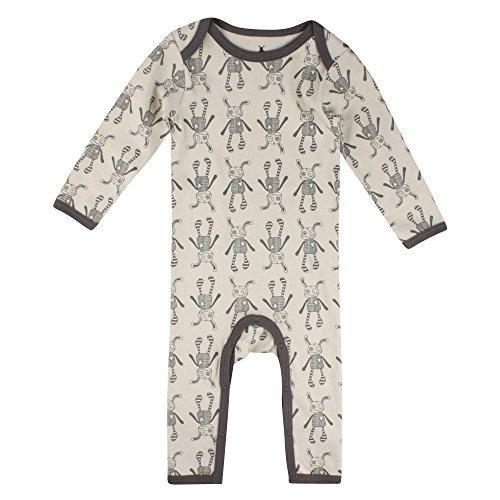 Small Rags Unisex Langarm Baby- und Kinder Schlafanzug, 100% Baumwolle, Beige-Grau, Real Romper Moonbeam, Gr. 74, 60091