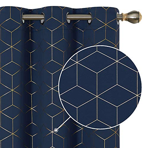 Deconovo Grommet Top Blackout Curtains Golden Diamond Foil Print Thermal Insulated Room Curtains Light Blocking Window for Dining Room Navy Blue 42W x 54L Inch Set of 2