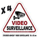 camera video surveillance lot 4 stickers adhesif 10x10cm avertissement signalisation