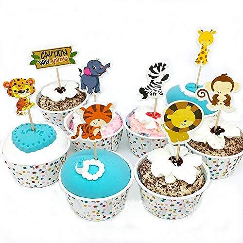 Yongbest Geburtstag Tortendeko,72 Stück Tier Cupcake Topper Kuchendeko Tiere für Jungen Kinder Geburtstag Hochzeiten Baby Duschen Party Decor Favors