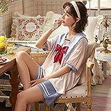 ML S HJDY SILA Satin Pajamas Set de 2 Piezas Mujeres más Tamaño Ropa de Dormir Pijamas Traje,Azul,XL