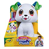 """Crayola Deluxe Color 'N Plush Puppy, 10"""" Stuffed Animal - Draw, Wash, Reuse – with 2 Ultra-Clean Washable Fine Line Markers, 1 Ultra-Clean Washable Broad Line Marker, 1 Washable Stamp Marker"""
