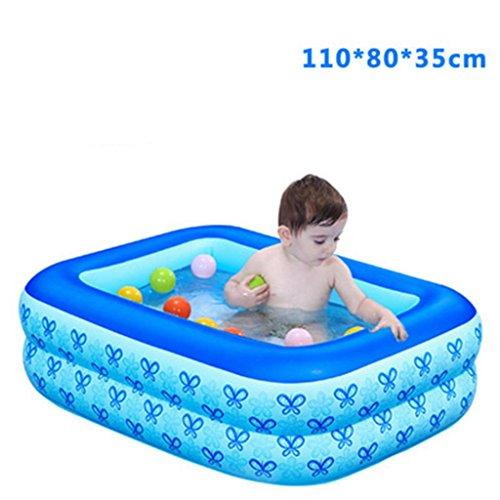 AJZGF Kind-aufblasbarer Bad-aufblasbarer Swimmingpool Verdicken Isolierungs-Baby-Swimmingpool-Bad-Plastik Falten-Wannen-Ozean-Ball-Pool-schaufelnde Pool-Wasser-Spielplatz-Fuß-Pumpe Badewanne