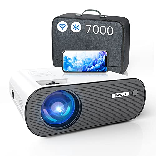 WiFi Projector Bluetooth, WiMiUS 7000L Mini Projector Support 1080P&200'' Display Video Projector Compatible with iOS Android TV Stick PS4 HDMI AV