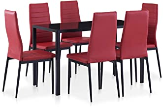 vidaXL 7 Pieces Dining Set Grey Rectangular Tempered Glass Kitchen Table with 6 Dining Chairs Padded Seat Indoor Dining Ro...