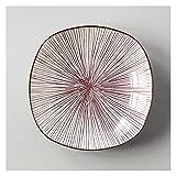 hongbanlemp Piatti Piani Home Creativo Ceramica Tableware Frutta Profonda Piastra Quadrata Piastra Occidentale Bistecca Occidentale la personalità Servizio Piatti (Color : R)
