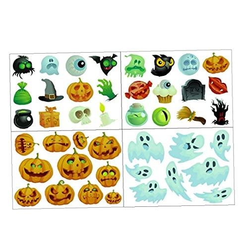 NIDONE Halloween Pegatinas Luminosa Hallowascente Fantascas Fantascas Calabazas Ventana Clings Links de Pared 4pcs