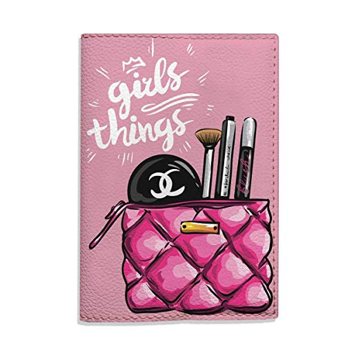 Girls things pink travel passport holder eco - leather cover for documents