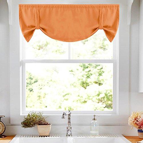 Tie-up Valance for Kitchen Windows Tie Up Shade for Small Window Room Darkening Curtain Adjustable Window Valance Balloon Blind, Rod Pocket, 20' L - Orange