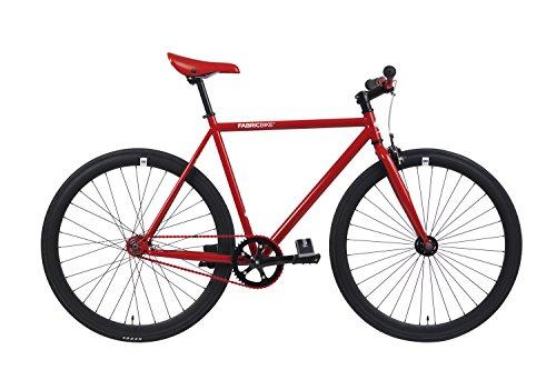 FabricBike- Bicicleta Fixie Blanca, piñon Fijo, Single Speed, Cuadro Hi-Ten Acero, 10Kg (M-53cm, Red & Matte Black)