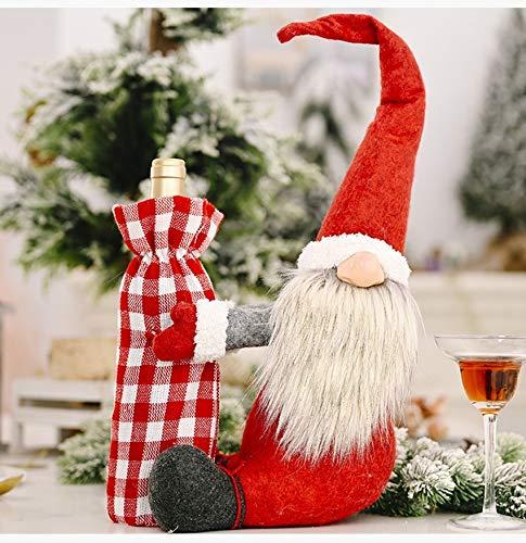 Gnomes - Bolsa para botellas de vino de Navidad, Papá Noel, color rojo