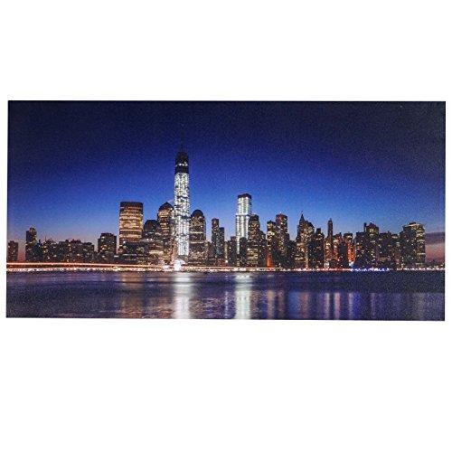 LED-Bild, Leinwandbild Leuchtbild Wandbild, Timer ~ 100x50cm One World Trade Center, flackernd