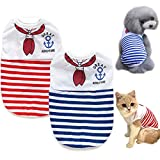 Brocarp Dog T-Shirt Puppy Vest, 2 Pack Striped Dog Clothes Tee Tank Top, Dogs Summer Shirts Navy Clothing, Pet Outfit for Small Medium Large Boy Girl Female Male Doggie Puppies Cat Kitty Apparel (S)
