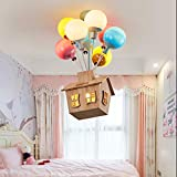 Bhesky Children's Balloon Chandelier,Creative with Wood House Multi-Color Pendant Light Eye Protection LED Light Boy Kids Room/Bedroom Ceiling Lamp(Size:8 Heads)