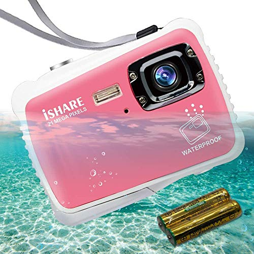 """Cocac Underwater Camera 21MP HD Waterproof Digital Camera for Kids with 2.0"""" LCD 8X Digital Zoom Flash and Mic for Girls/Boys 2-5-10-15 Pink with 2 Batteries Max Support 32GB Card(not Included)"""
