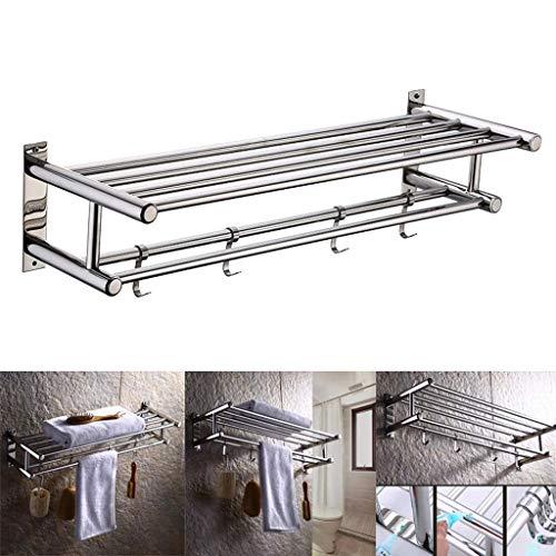WCJ Opslagrack, 304 RVS Materiaal Beweegbaar 4 Haak Ontwerp Opslagruimte, Waterdicht en Vocht Multifunctionele Super Load-Bearing Handdoek Display Stand